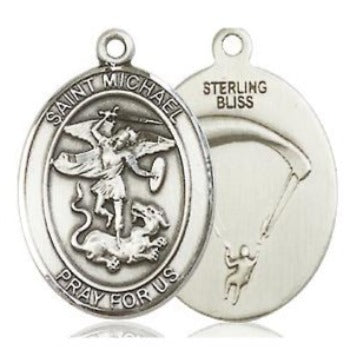 St. Michael Paratrooper Medal - Sterling Silver - 3/4 Inch Tall x 1/2 Inch Wide