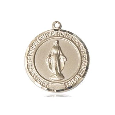 "Miraculous Medal Necklace - 14K Gold Filled - 3/4 Inch Tall by 5/8 Inch Wide with 24"" Chain"