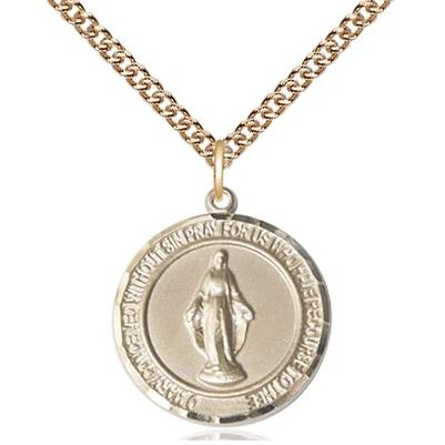 "Miraculous Medal Necklace - 14K Gold - 3/4 Inch Tall by 5/8 Inch Wide with 24"" Chain"