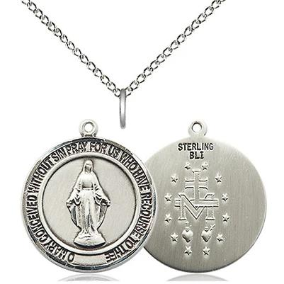 "Miraculous Medal Necklace - Sterling Silver - 3/4 Inch Tall by 5/8 Inch Wide with 18"" Chain"