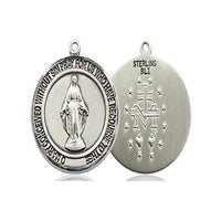 Miraculous Medal - Sterling Silver - 3/4 Inch Tall by 5/8 Inch Wide