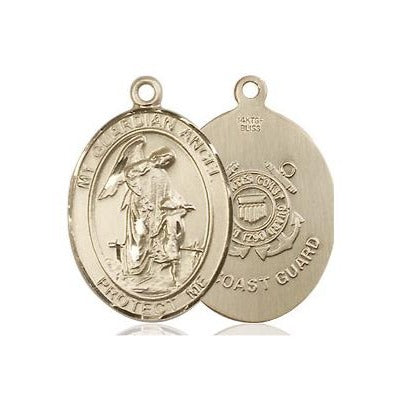 "Guardian Angel Coast Guard Medal Necklace - 14K Gold Filled - 3/4 Inch Tall x 1/2 Inch Wide with 18"" Chain"