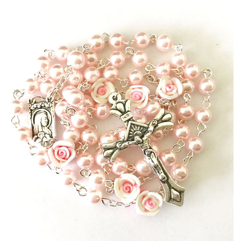 Buy 1 Get 2 Free Angel Pink Pearl Rose Rosary