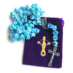 Heavenly Blue Roses Fatima Rosary with Free Velvet Pouch