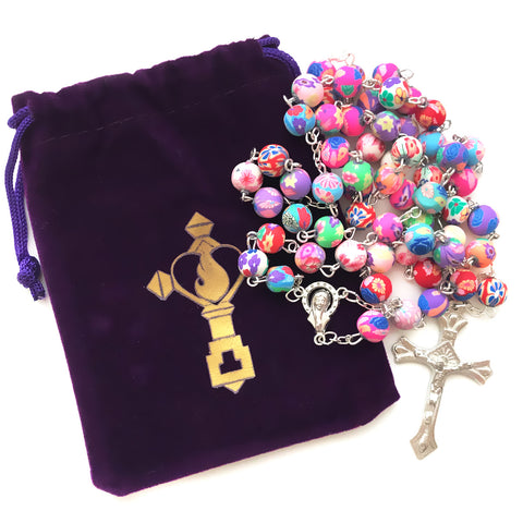 Beautiful Catholic Colorful Rosary With FREE Velvet Pouch