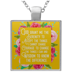 Serenity Prayer Square Necklace in Golden Yellow