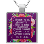 Serenity Prayer Square Necklace in Purple