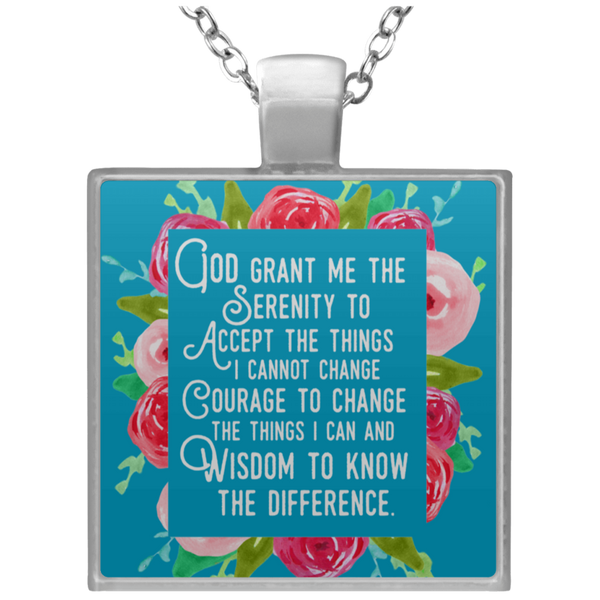 Serenity Prayer Square Necklace in Turquoise