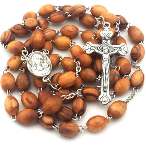 Exclusive Holy Land Rosary - Mary & Baby Jesus Centerpiece