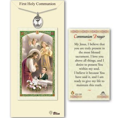 First Holy Communion Catholic Medal With Prayer Card - Pewter