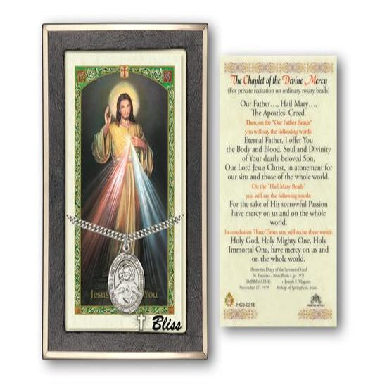 Scapular Catholic Medal With Prayer Card - Sterling Silver