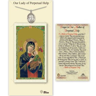 Our Lady of Perpetual Help Catholic Medal With Prayer Card - Pewter
