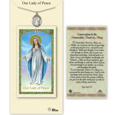 Our Lady of Peace Catholic Medal With Prayer Card - Pewter