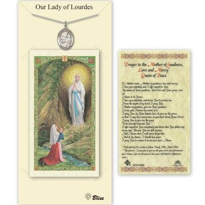 Our Lady of Lourdes Catholic Medal With Prayer Card - Pewter