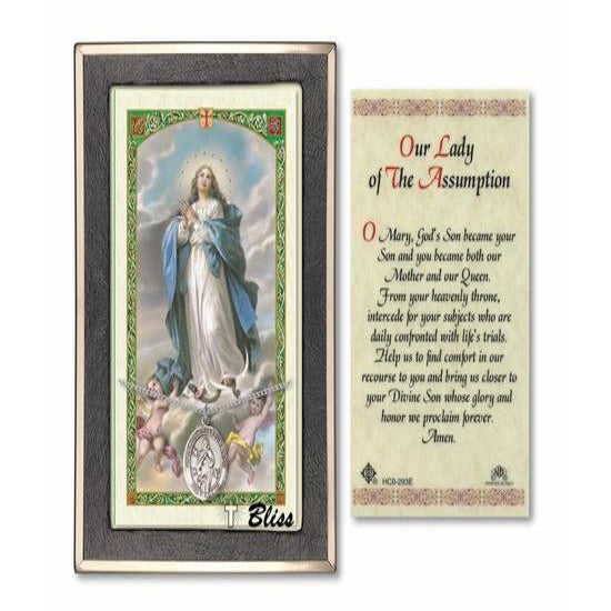 Our Lady of Assumption Catholic Medal With Prayer Card - Sterling Silver