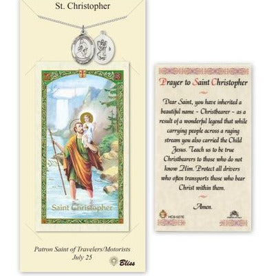 St. Christopher Catholic Medal With Prayer Card - Pewter