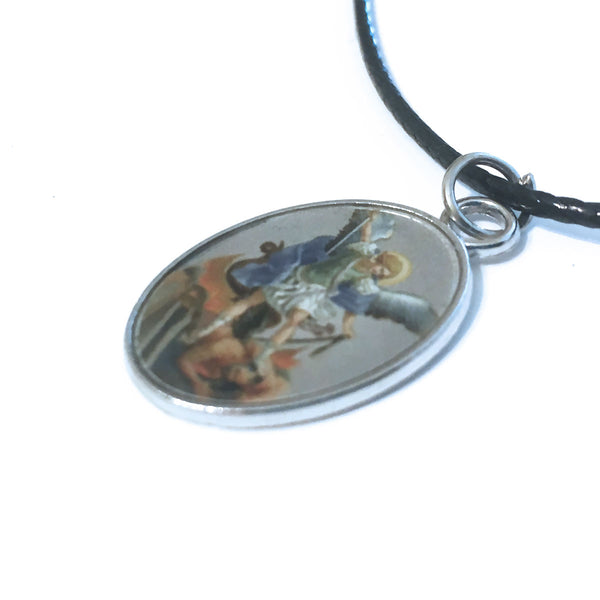 St. Michael Pendant Cord Necklace With Clasp
