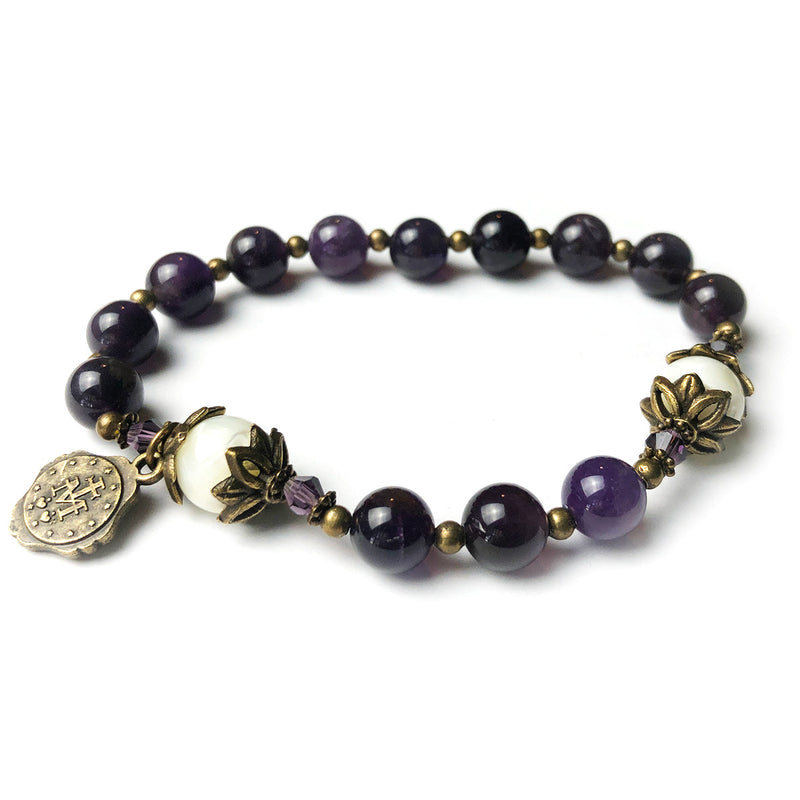 Amethyst and Mother of Pearl Stone Rosary Bracelet by Catholic Heirlooms - Confirmation - Holy Communion Gift