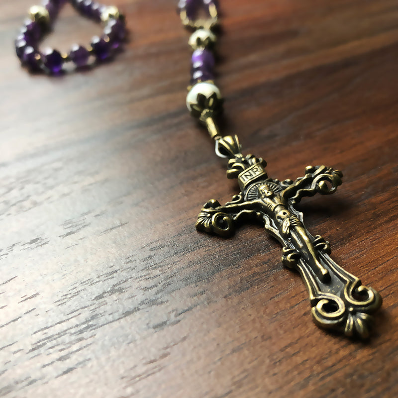 Amethyst and Mother of Pearl Stone Rosary With Miraculous Medal by Catholic Heirlooms - Confirmation - Holy Communion Gift - Rosary Necklace