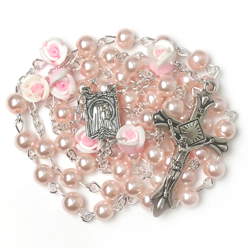 Angel Pink Pearl Rose Rosary