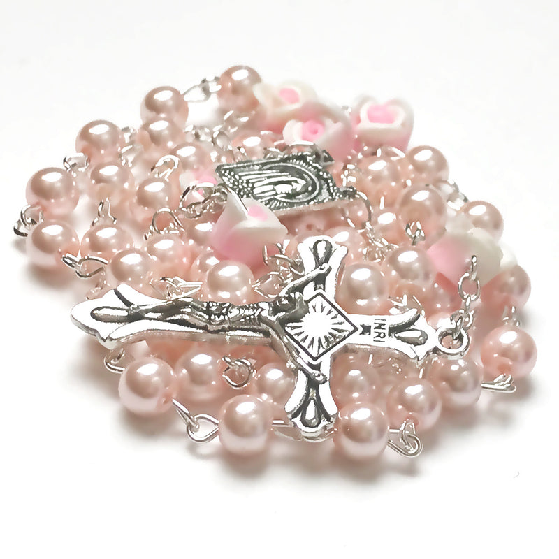 Angel Pink Pearl Rose Rosary by Risen Rosaries