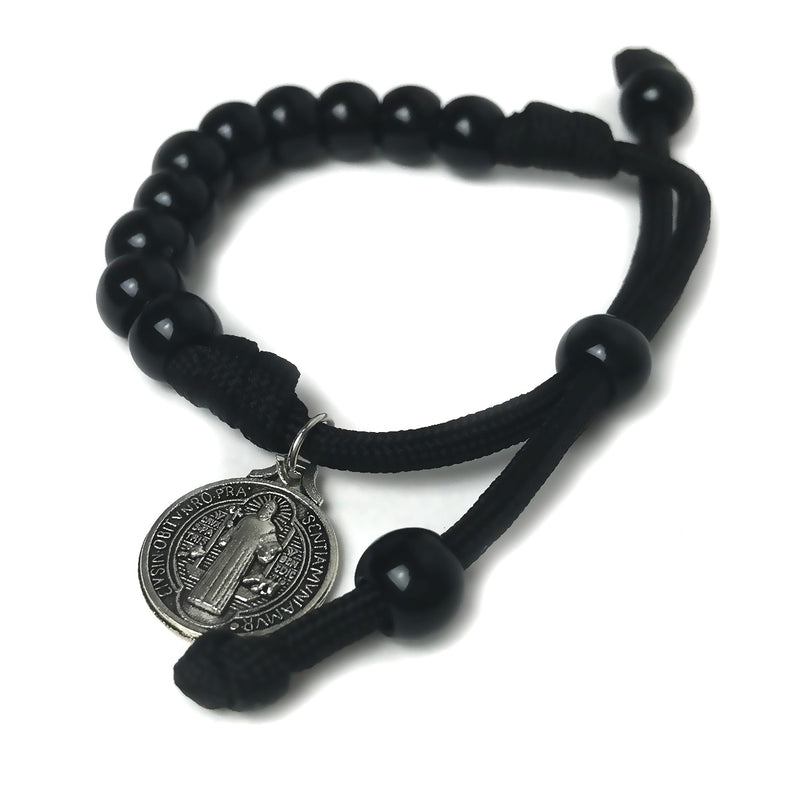 Men's Catholic Rosary Beads Bracelet - St. Benedict Shiny Black Paracord Rosary Bracelet by Revolution Rosaries