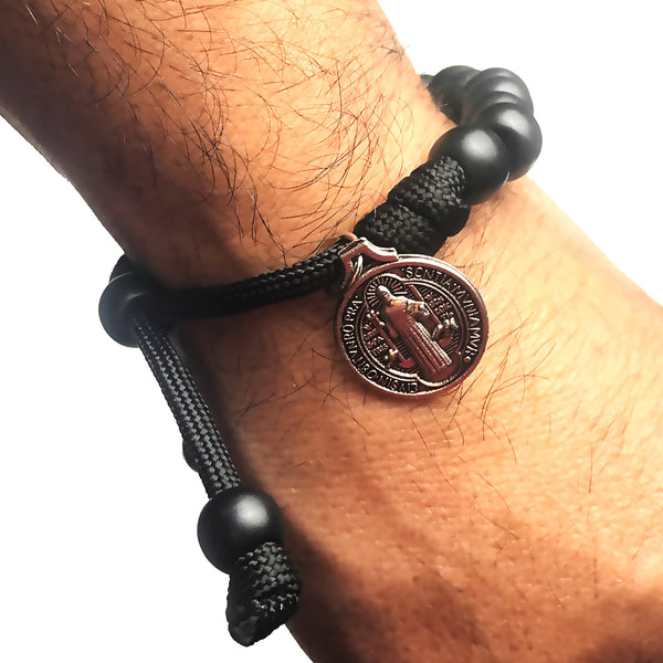 Men's Catholic Rosary Beads Bracelet - St. Benedict Matte Black Paracord Rosary Bracelet by Revolution Rosaries