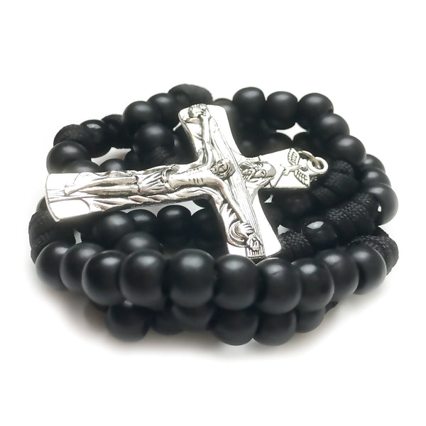 Men's Rosary - Trinity Black Paracord Rosary - Tough & Rugged Rosary by Revolution Rosaries