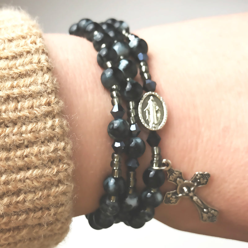 Marbled Onyx Miraculous Medal 3-in-1 Full 5 Decade Rosary Bracelet
