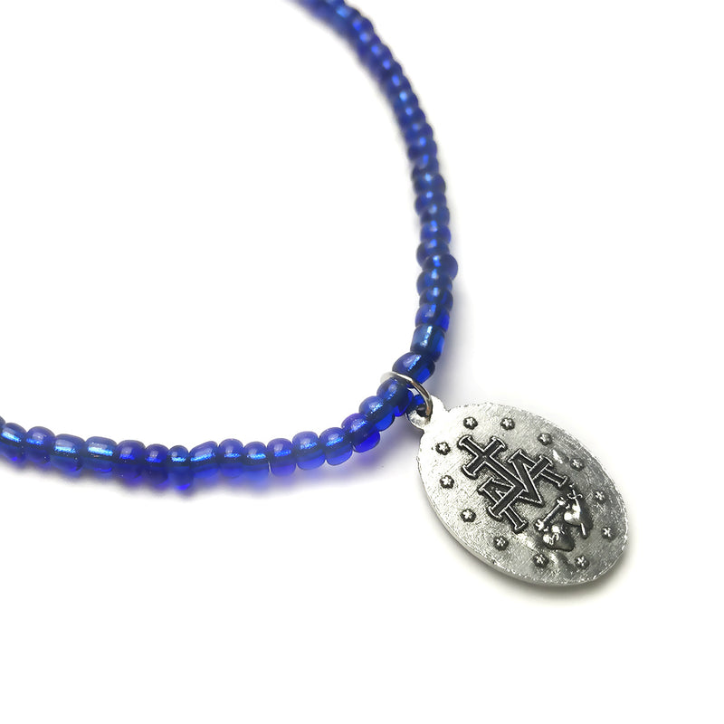 Royal Blue Miraculous Medal Necklace by Dalia Lorraine
