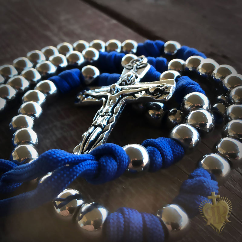 Men's Rosary - Archangel Blue Paracord Rosary - Catholic Rosary Beads by Revolution Rosaries