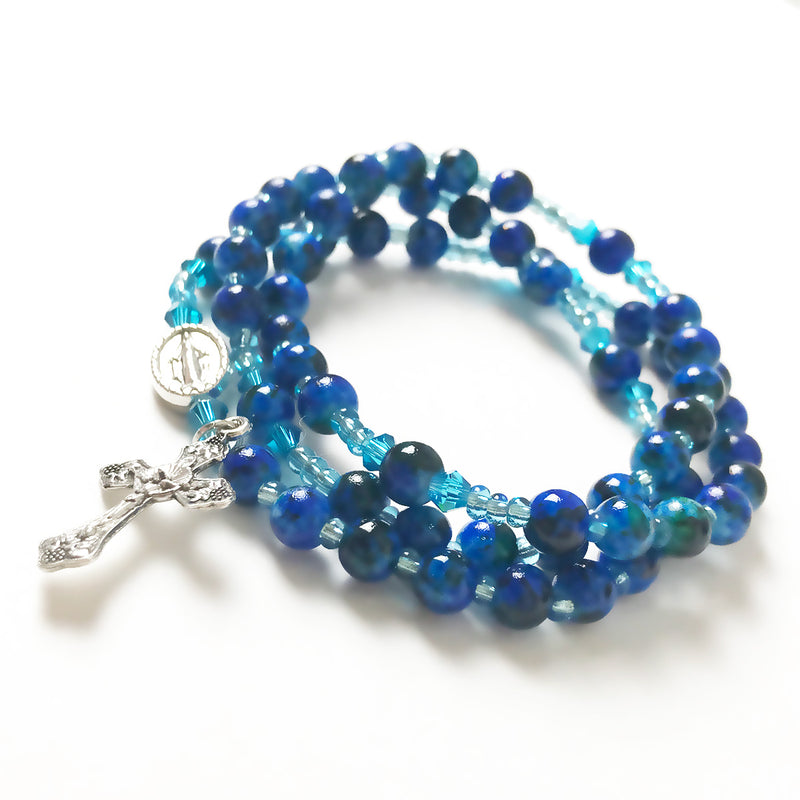 Marbled Cobalt Blue Miraculous Medal 3-in-1 Full 5 Decade Rosary Bracelet