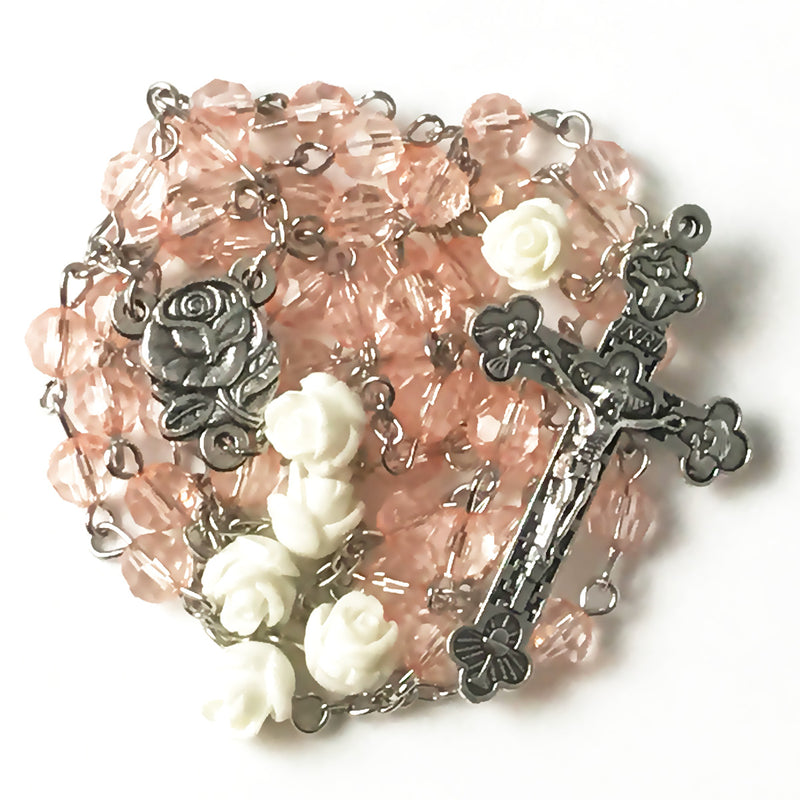 Pale Pink Soft White Rose Rosary