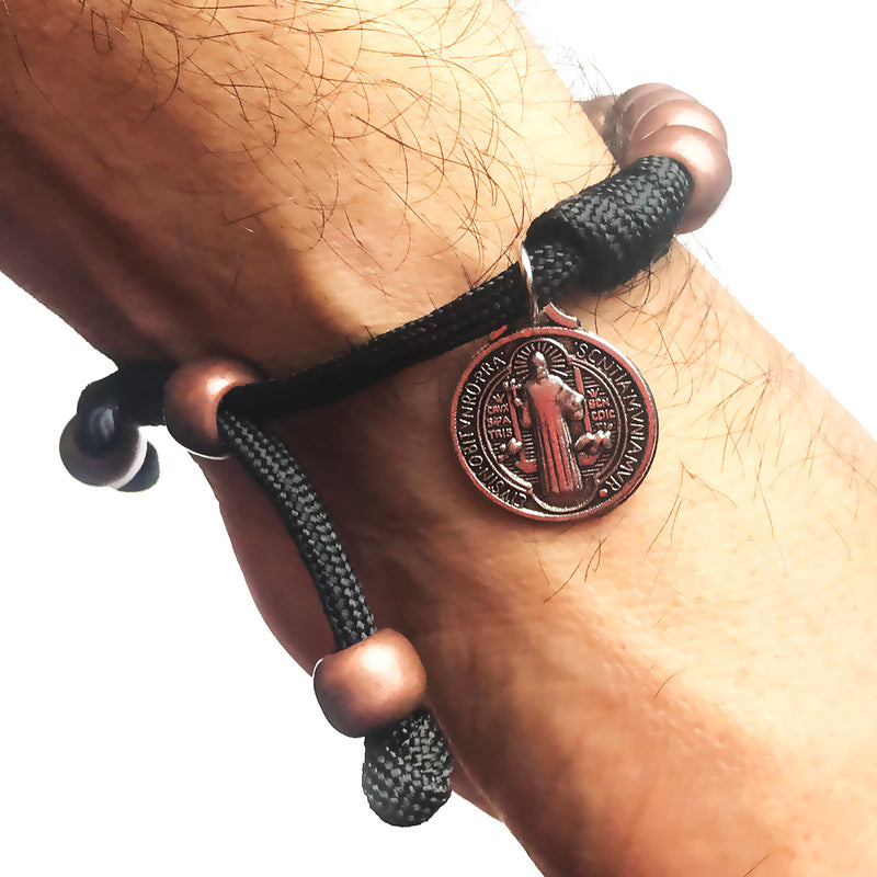 Men's Catholic Rosary Beads Bracelet - St. Benedict Matte Bronze Paracord Rosary Bracelet by Revolution Rosaries