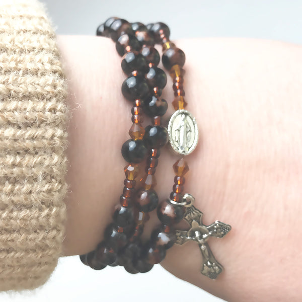 Marbled Espresso Miraculous Medal 3-in-1 Full 5 Decade Rosary Bracelet