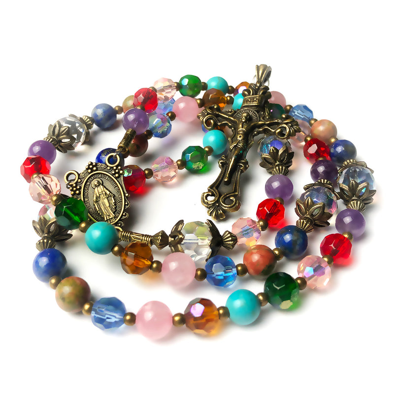 Basilica Window Crystal and Stone Rosary With Miraculous Medal by Catholic Heirlooms - Confirmation - Holy Communion Gift - Rosary Necklace