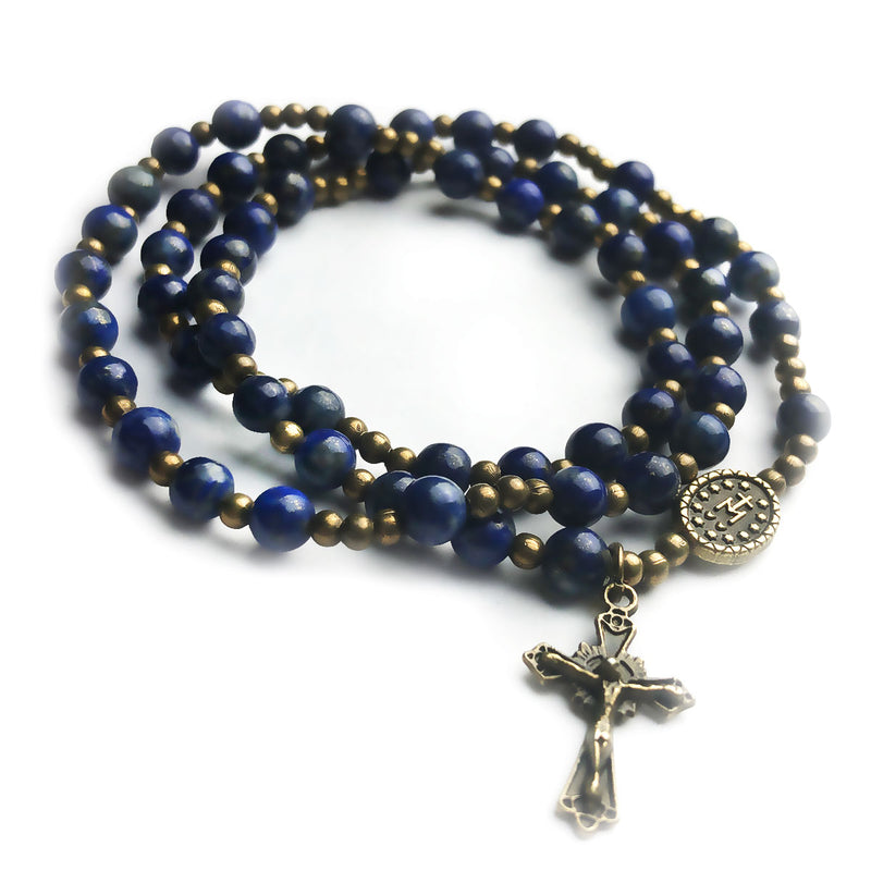 Blue Lapis Stone Full 5-Decade Catholic Rosary Bracelet by Catholic Heirlooms - Confirmation - Holy Communion Gift