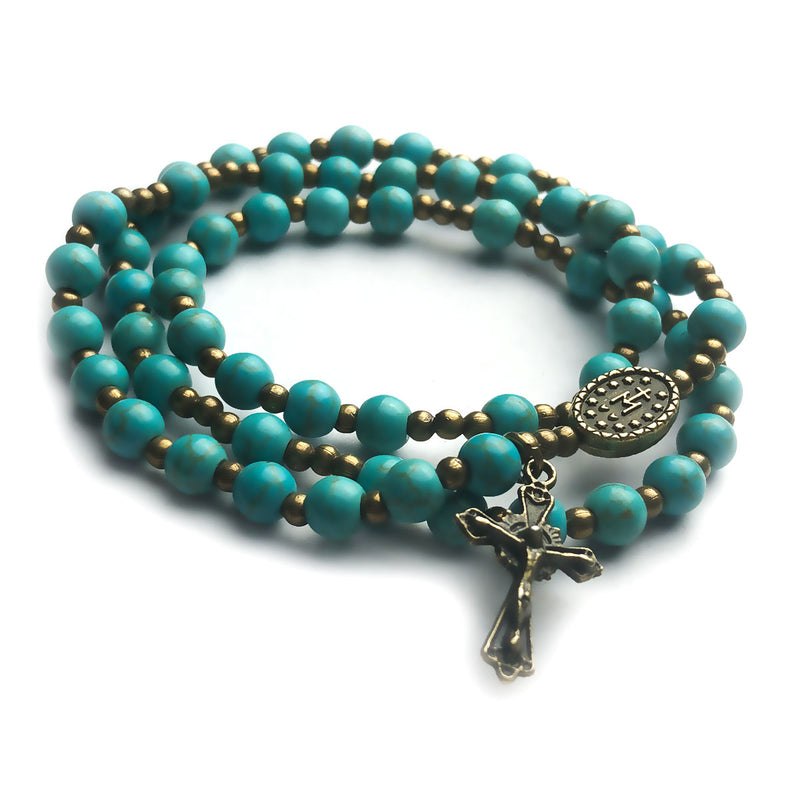 Turquoise Stone Full 5-Decade Catholic Rosary Bracelet by Catholic Heirlooms - Confirmation - Holy Communion Gift