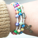 Colorful Miraculous Medal 3-in-1 Full 5 Decade Rosary Bracelet