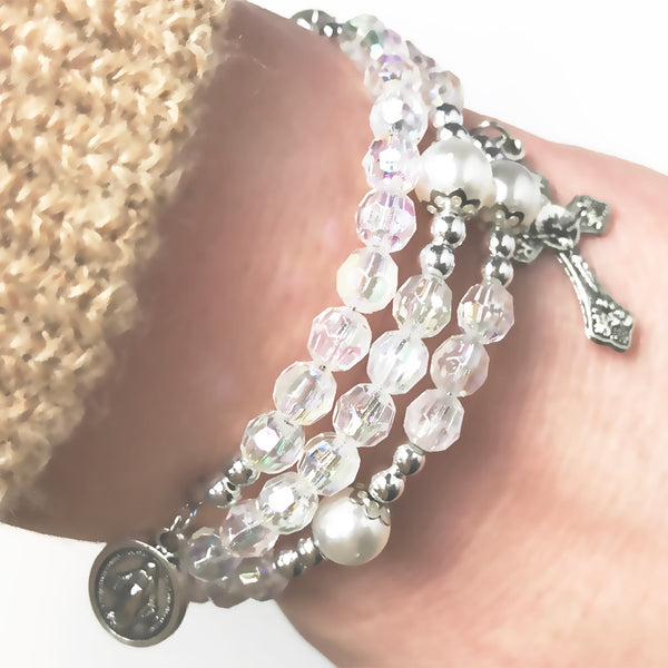Miraculous Crystal Full 5 Decade Rosary Bracelet