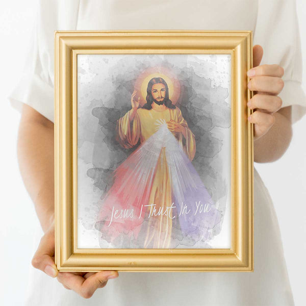 Divine Mercy Watercolor Wall Art Print