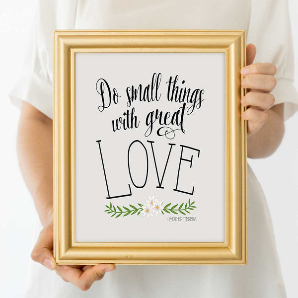 Do Small Things Mother Teresa Quotes Wall Art Print