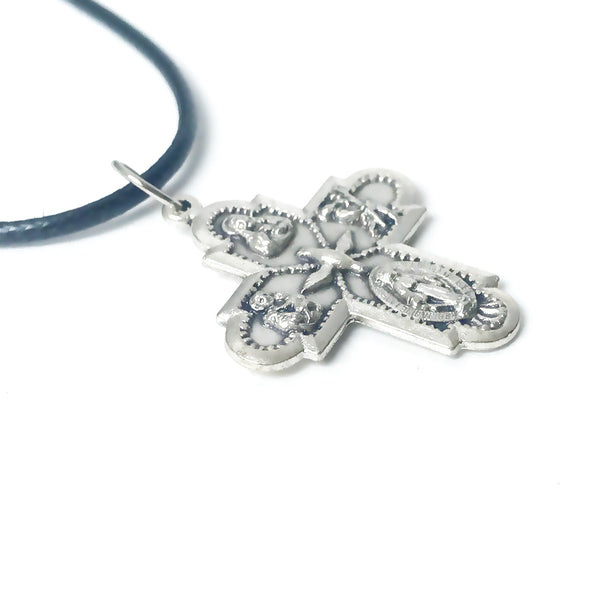 Four Way Medal Pendant Cord Necklace With Clasp