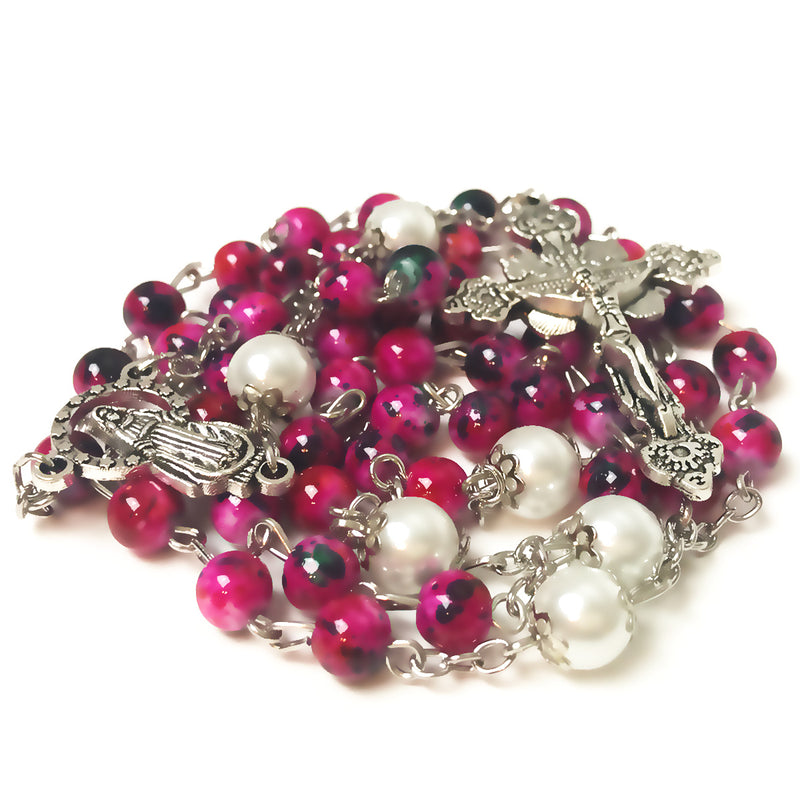 Our Lady Of Grace Fuchsia & Pearl Rosary