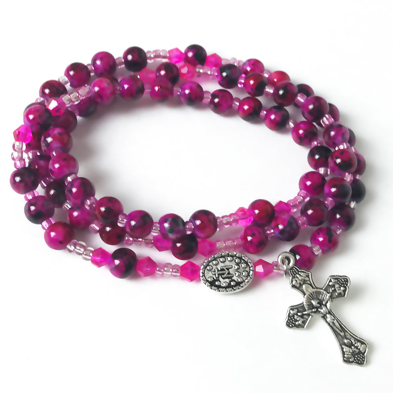 Marbled Fuchsia Miraculous Medal 3-in-1 Full 5 Decade Rosary Bracelet