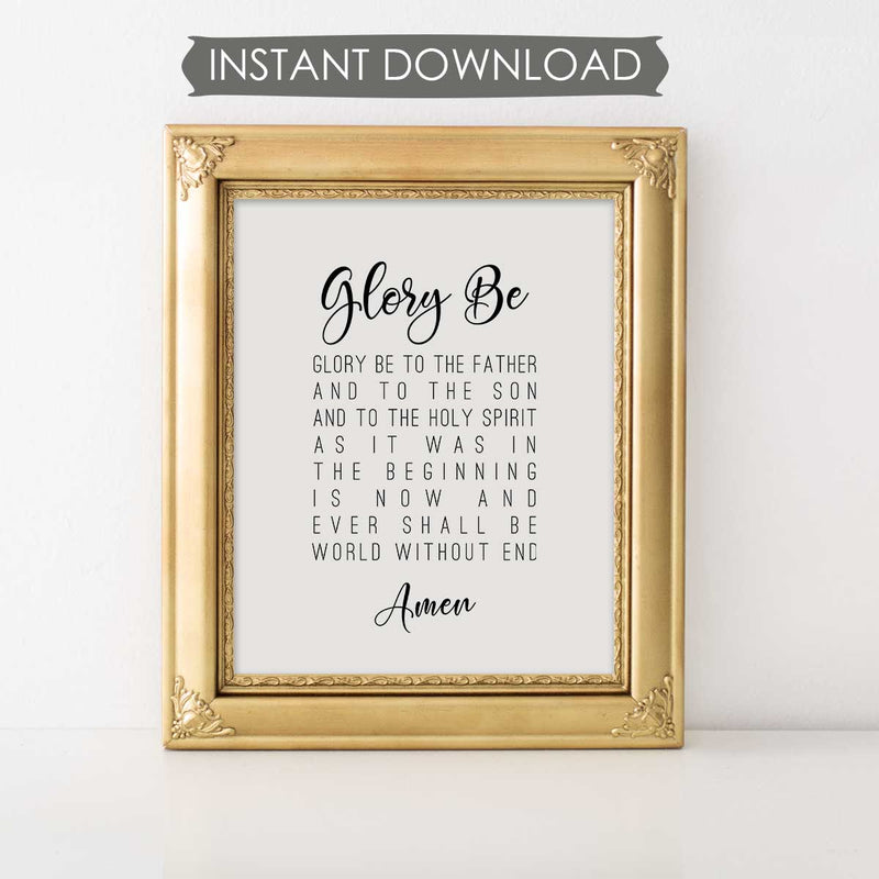 Glory Be Prayer INSTANT DOWNLOAD Printable Wall Art