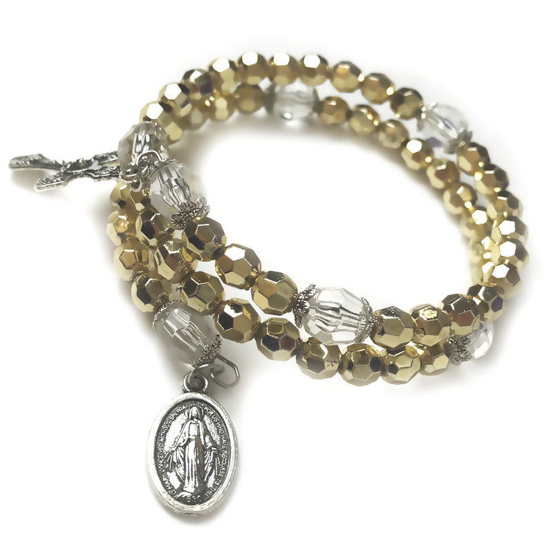Rosary Bracelet - Golden Crystal Cut Beaded Full 5 Decade Rosary Bracelet