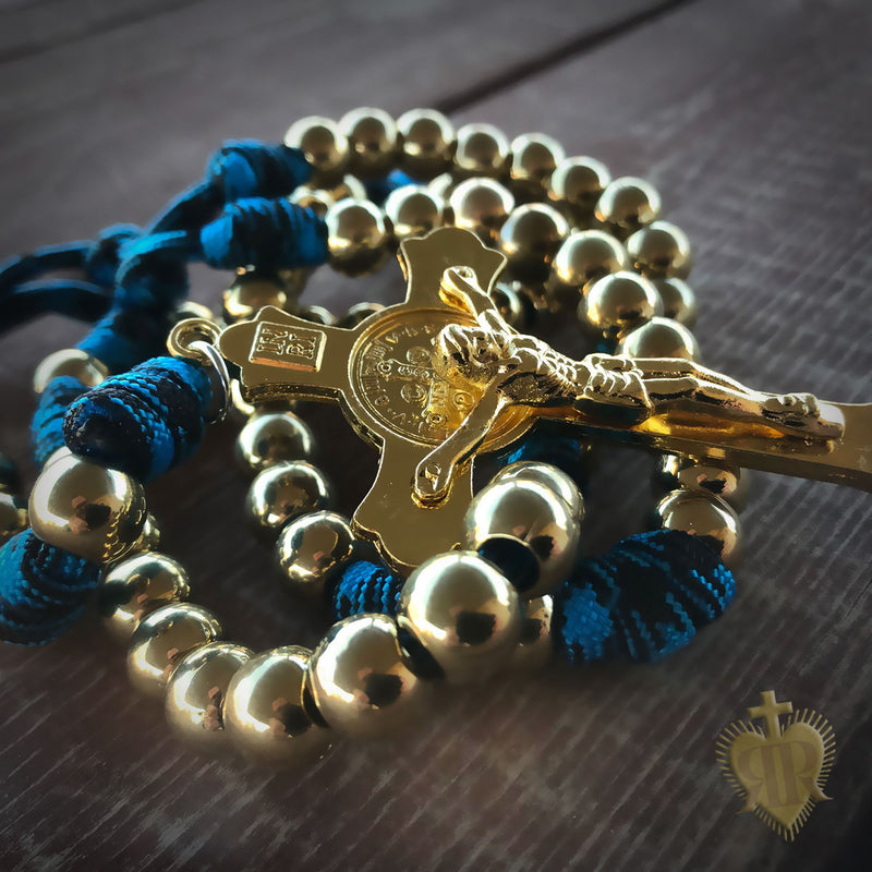 Men's Rosary - God's Army Gold Paracord Rosary - Catholic Rosary Beads by Revolution Rosaries