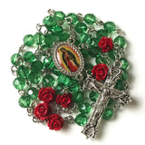 Our Lady Of Guadalupe Emerald Green Red Rose Rosary