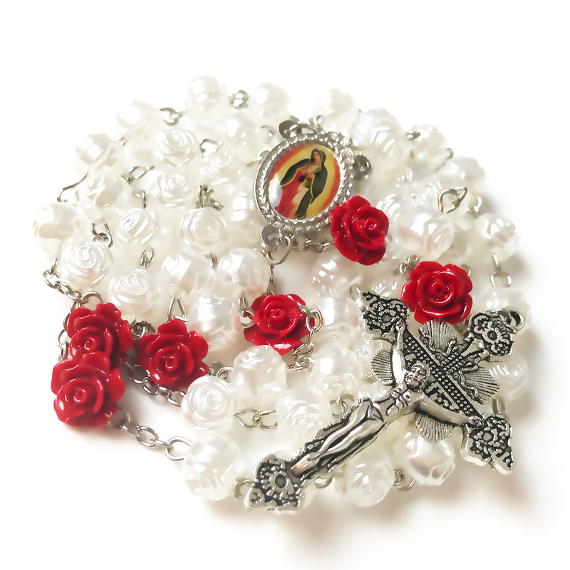 Our Lady Of Guadalupe Pearl Rose Rosary
